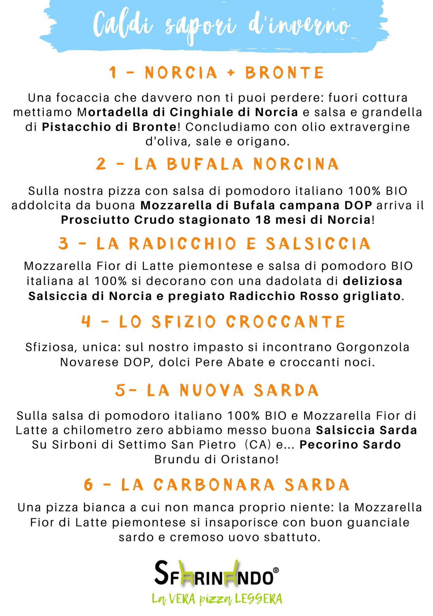 menu speciale febbraio sfarinando norcia